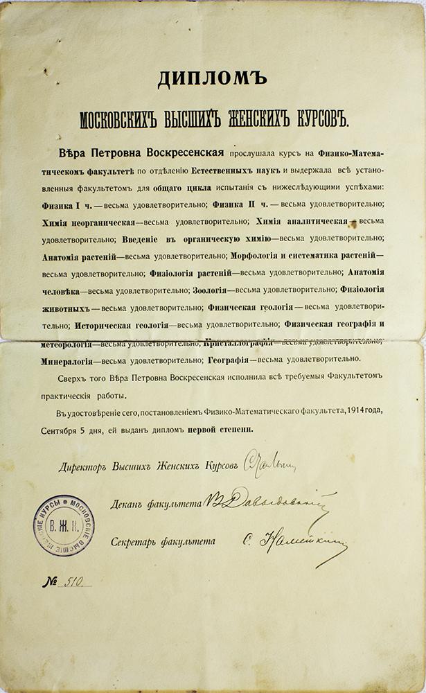 Диплом Высших женских курсов Герье, полученный Верой Воскресенской в 1914 году