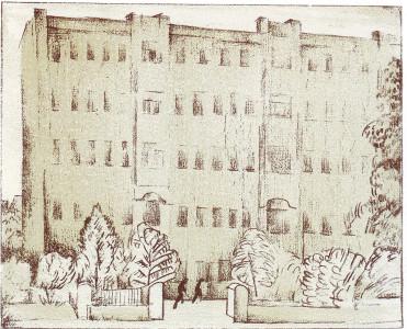 Циковский Н.С. (?). Дом Коммуны на Садовой. 1921 г. Лист 77. Литография с тоном
