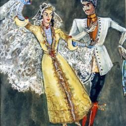 Семен Аладжалов. Эскиз костюмов «Кавказский танец» для Государственного центрального театра юного зрителя. 1946 год
