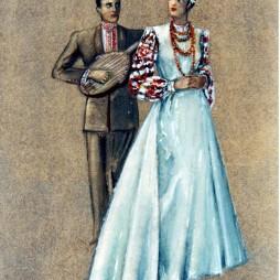 Семен Аладжалов. Эскиз костюмов «Русский романс» для Государственного центрального театра юного зрителя. 1949 год