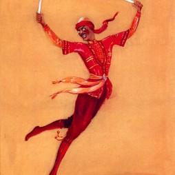 Семен Аладжалов. Эскиз костюма «Танец с саблями» для Государственного центрального театра юного зрителя. 1952 год