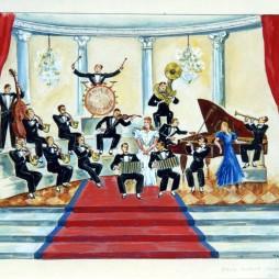 Семен Аладжалов. Эскиз панно «Оркестр» к эстрадному выступлению в Государственном центральном театре юного зрителя. 1943 год