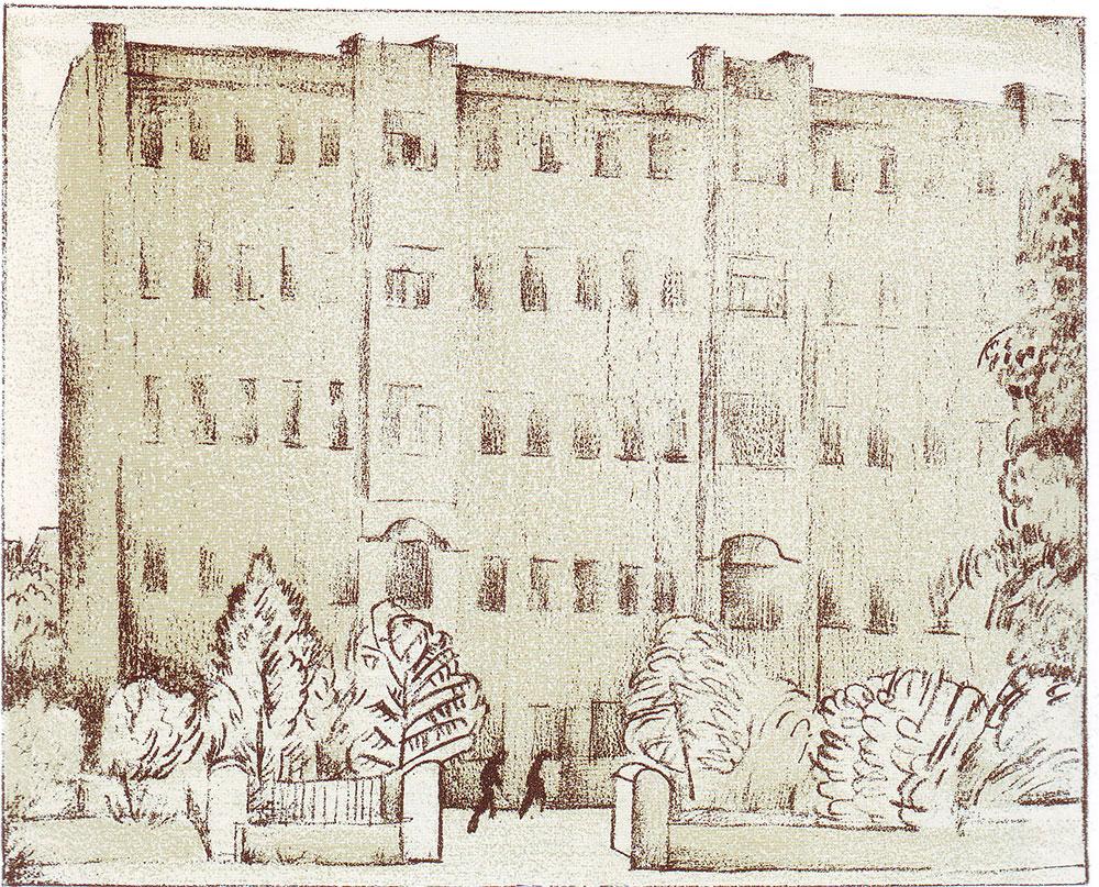 1921 год. Циковский Н. С. (?). Дом Коммуны на Садовой. Лист 77. Литография с тоном