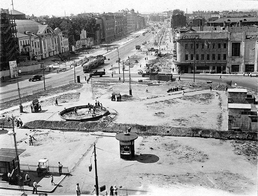 Середина 1930-х годов. Реконструкция Триумфальной площади. Из коллекции Б. Е. Пастернака