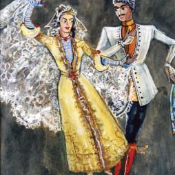 Семен Аладжалов. Эскиз костюмов «Кавказский танец» в Госцентюзе. 1946 год.