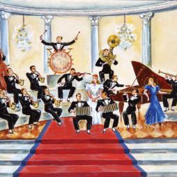 Семен Аладжалов. Панно «Оркестр» к эстрадному выступлению в Госцентюзе. 1943 год.