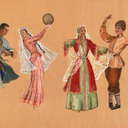 Семен Аладжалов. Эскиз костюмов для постановки балета Арама Хачатуряна «Счастье». 1939 год.