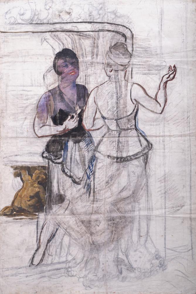 Эскиз к портрету Екатерины Гельцер. Из собрания Музея М. А. Булгакова.