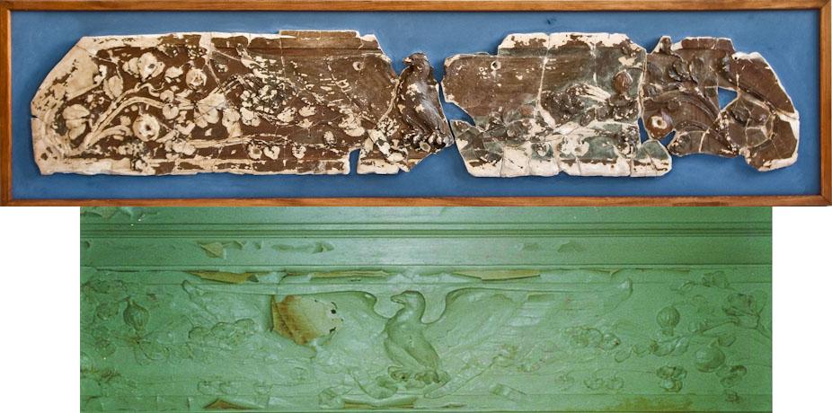Сверху: лепное изображение орла из собрания Музея М.А. Булгакова. Фотография: Антон Акимов.   Внизу: лепное изображение орла на потолке кабинета Пигита. Фотография: Пол Спенглер, 1996 год