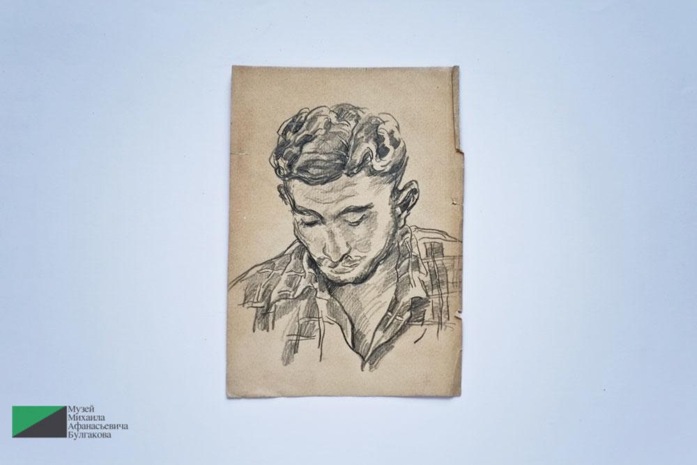 Голова мужчины. Рисунок. Предположительно автором является Петр Кончаловский, а натурщиком — Владимир Переяславец. 1930-е годы